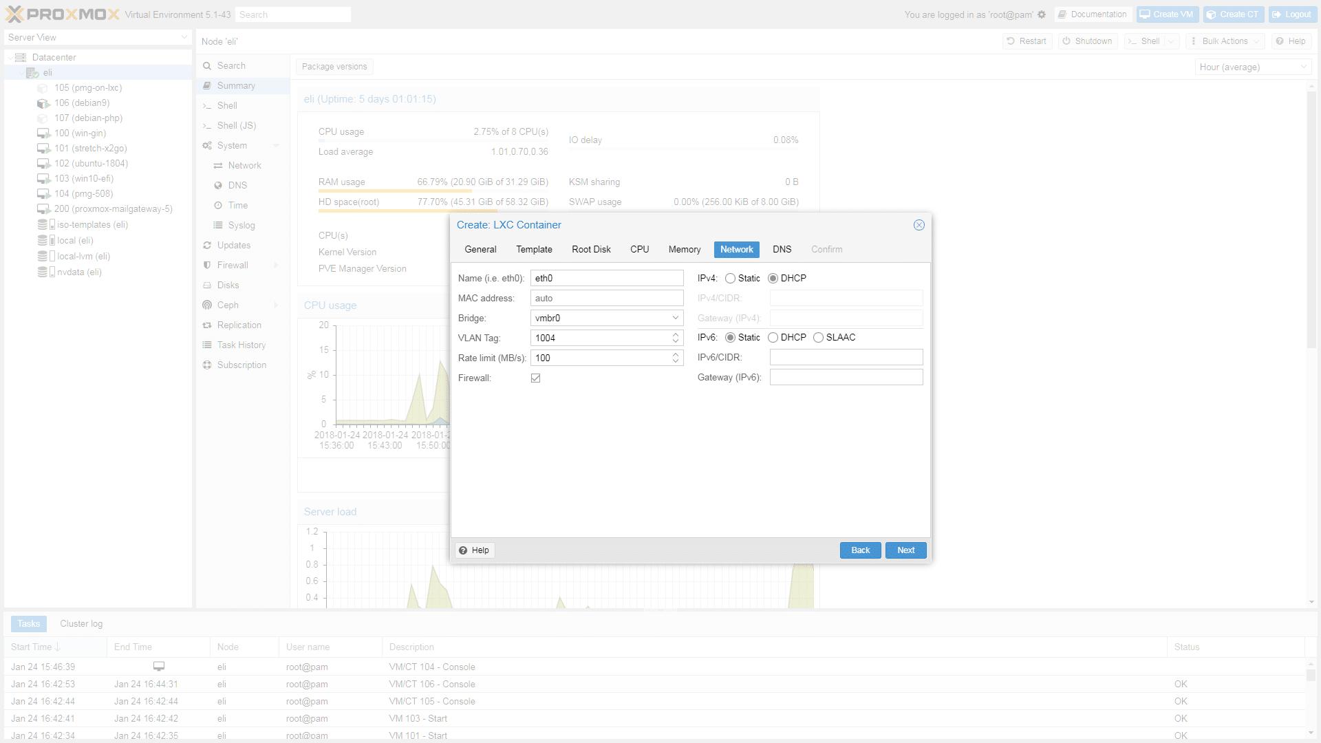 proxmox - tworzenie kontenera lxc